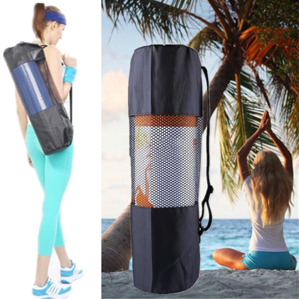 Gym Yoga Mat Bag Portable Nylon Carrier Washable Adjustable Strap Carry 60*17cm*6mm Black Shaping Tool