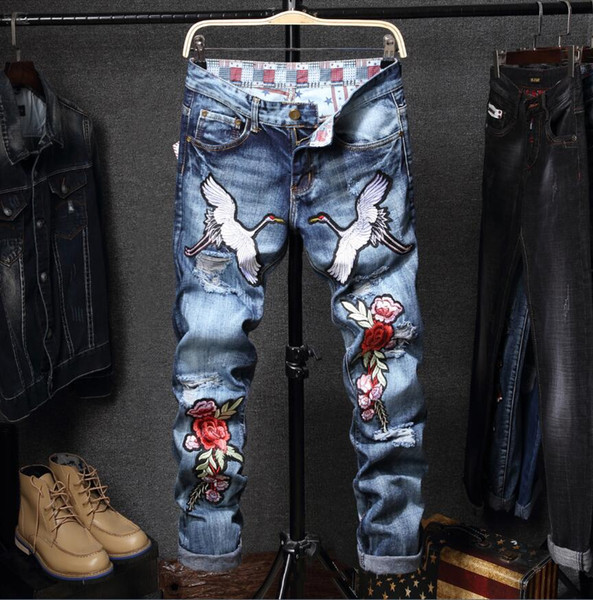 wholesale lowest price men's Red-crowned crane jeans 2018 new men's luxury slim jeans pants men's blue jeans pant Free shipping 886