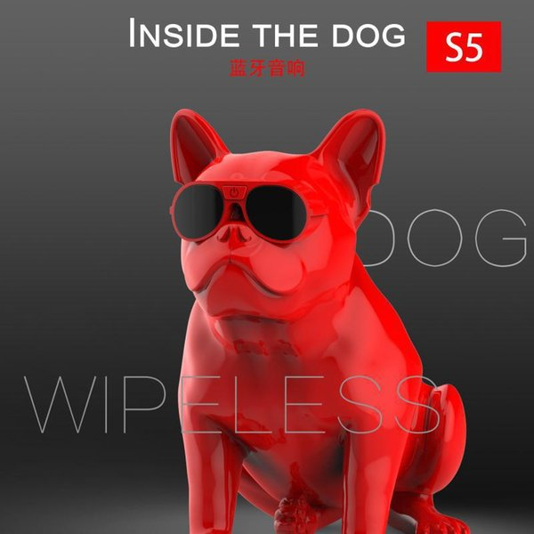 JS S5 Bulldog Bluetooth Wireless Speaker Originality Cartoon Speaker For Apple Lighting Interface Plastic Loudspeaker Box column speaker