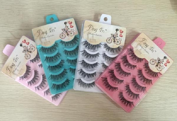 5 pairs/lot False Eyelashes Black Cross Fake Eyelash Natural Long Make up Eye lash Extensione Fake Eyelashes Free Shipping