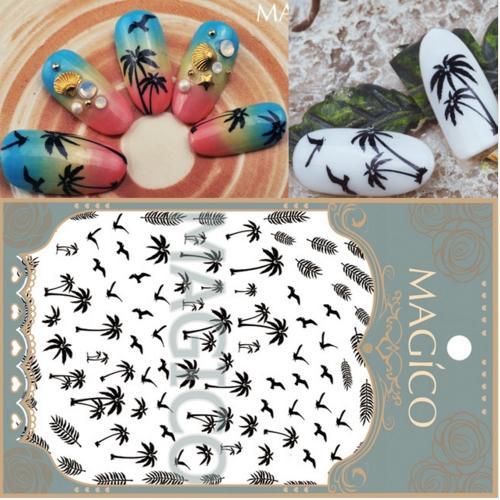 FOREVER JASMINE1Sheet Palmiers NoirsNail Art Sticker Été Blanc Autocollants Plein Nail Wrap Sea Gull Manucure Nail Décorations