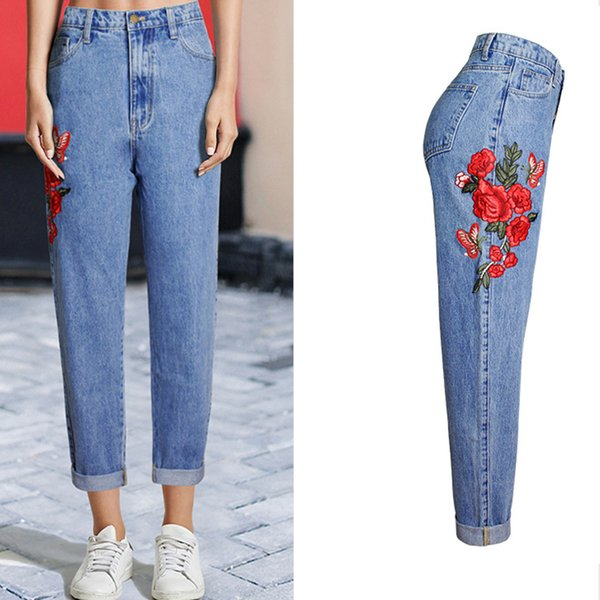 8a5d543f3b7 Baggy Boyfriend Jeans For Women High Waist Plus Size Jeans Rose Floral Embroidered  Vintage Women Bottoms