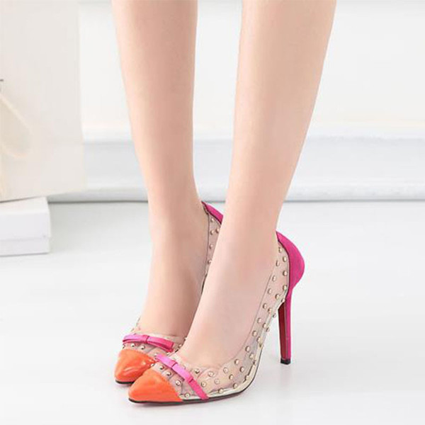 Pointed toe designer high heels shoes sexy transparent rubber rivet bow 3 colors fashion stiletto heel red sole women pumps