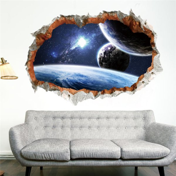 Galaxy Space Planet Stars 3D Window Poster Broken Wall Creative Decorations For Kids Baby Nursery Bedroom Wall Stikcer Decorhaif