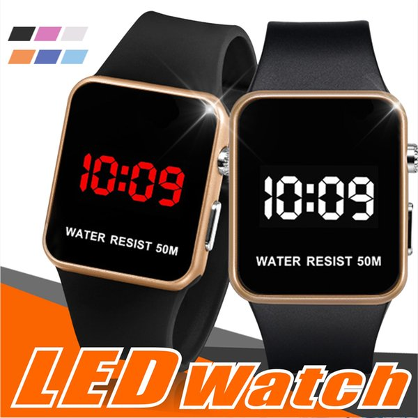 Mode LED Montres Hommes Femmes Sport Numérique montres Calendrier Date Silicone étanche montre Miroir Réveil Montre-Bracelet