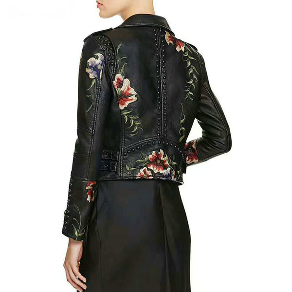 Wholesale- 2018 New Women Autumn Winter Faux Leather Jackets Lady Floral Embroidery Biker Rivet Coats Motorcycle S-XL Hot Sale