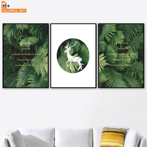 COLORFULBOY Deer Quote Leaf Canvas Art Print Nordic Posters And Prints Wall Art Canvas Painting Wall Pictures For Living Room