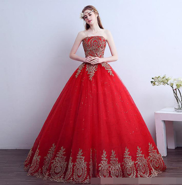 luxury wedding dress 2018 Free Shipping Vintage Lace Red Wedding Dresses Long Train Plus Size Ball Gown Robe de Mariee Cheap