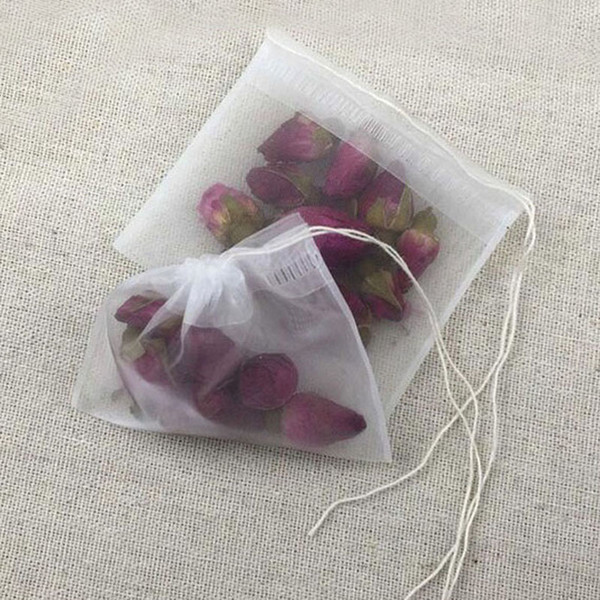 7X9cm Nylon Tea Pouches Tea Filter Bags Strings Semi-transparent Reusable Home Office Tea Tool Free Shipping ZA5676