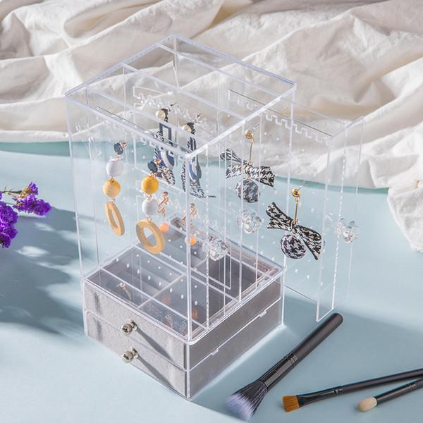 Orecchino acrilico display stand organizer holder viti prigioniere dell'orecchino di stoccaggio chiaro gioielli organizer box rack con cassetto5.1 * 5.1 * 10 pollici