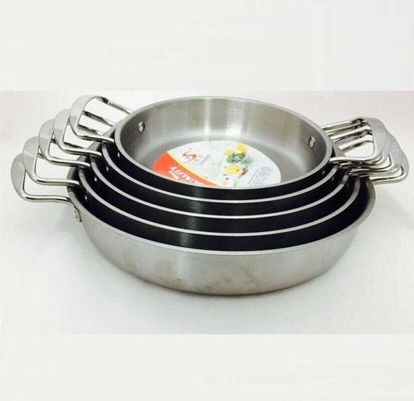Free Shipping 22cm Non -Coating Stainless Steel Fry Pan Griddles &Grill Pans New Hot Kitchen Cookware