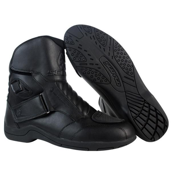 SCOYCO Moto Racing Leather Urban Motorcycle Waterproof Boots Shoes Motorbike Short 01527 Biker Sports Road Botas