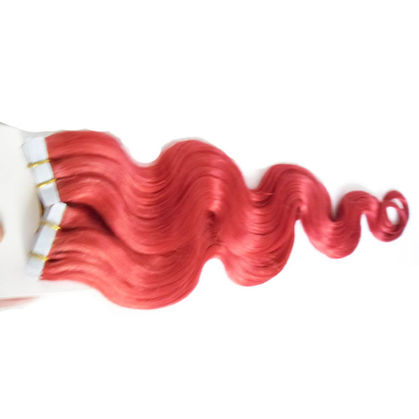 Red Tape In Human Hair Extensions 40pcs Apply Tape Adhesive Skin Weft Hair 100g Full Cuticle Seamless body wave Hair Salon Style 2.5g/1pcs