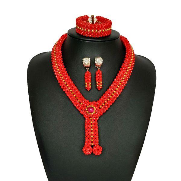 Sonderpreis Ziemlich Nigerianischen Hochzeits Afrikanische Perlen Schmuck Set Frauen Party Kristall Schmuck Braut Aussage Halskette Set Kostenloser Versand