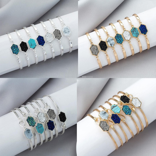 Fashion Brand Drusy Druzy Bracelet Bangle Silver Gold Plated Resin Geometry Gemstone Bracelet Bangle Women Lady Jewelry