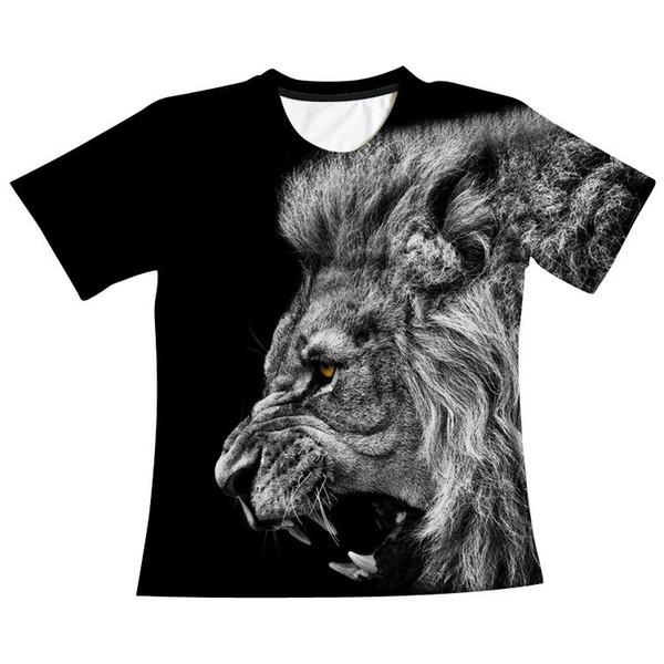 6 Sizes Factory New Roaring Lion 3D Digital Print T-shirt Men Round Collar Short Sleeved Blouse A0302