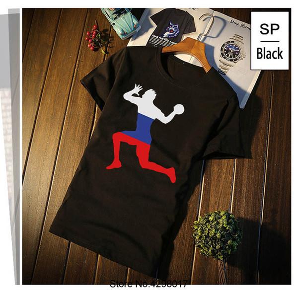 Balonmano personalizado Russland Camiseta Hombre Carta Traje Camiseta Para  Hombres Algodón Transpirable Camiseta Dry Fit S 60012a764c008