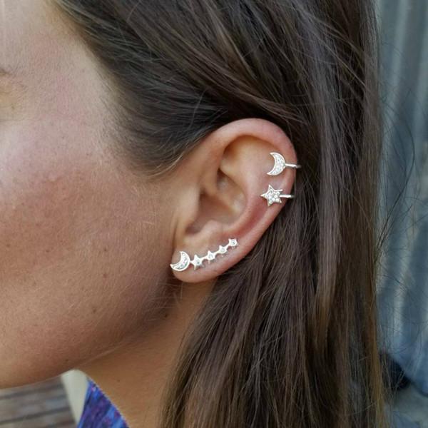 New Foreign Trade Wind Big Jewelry Earring Personality Moon Ear Clip Wholesale Fashion Earrings For Women Star Ear Cuff Earcuff