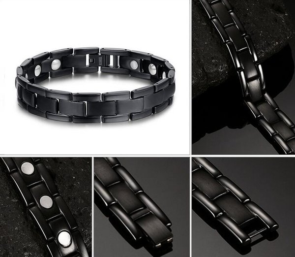 Fashion Black Mens Pure Titanium Nagetive Ion Magnets Men Health Magnetic Bracelet Therapy Jewelry