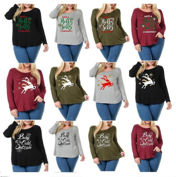 9fb96893c92c Women Autumn Christmas T-shirt Elk Deer Letter Print Shirts Pullover Long  Sleeve Sweatshirts Round