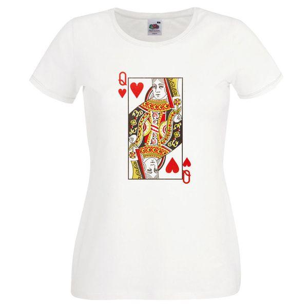 Reina de tarjetas camiseta jugador novedad Ideal regalo B'day presente camiseta para mujeres
