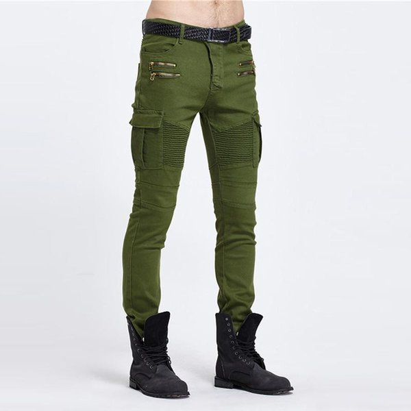 Army Green Biker Jeans Men Skinny Cargo Jeans with Side Pockets 2017 Mens Denim Pants Casual Slim Fit Zipper Motorcycle Jeans Homme