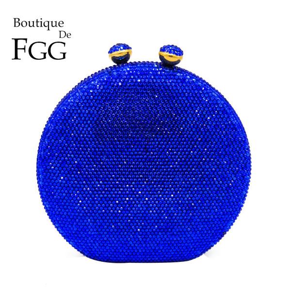 Boutique De FGG Éblouissante Grand Tour Royal Bleu Cristal Femmes Soirée Sacs D'embrayage Dur Etui En Métal Fête De Mariage Cocktail Sac À Main