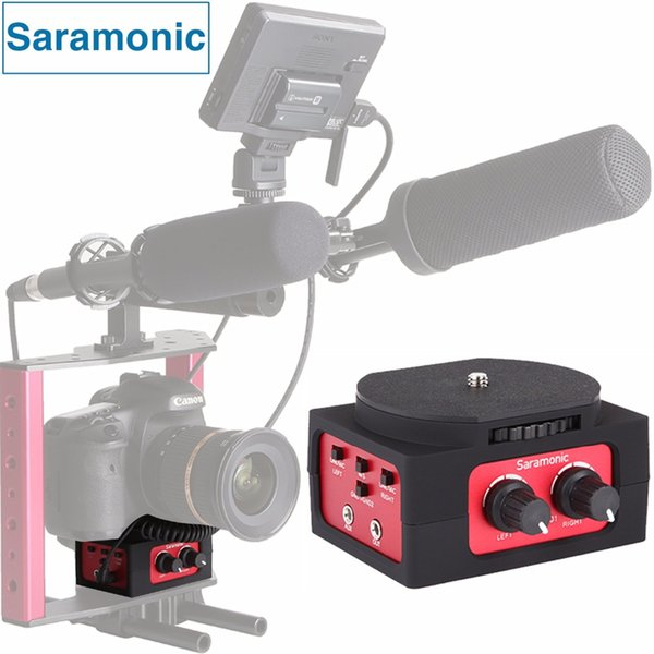 Wholesale-Saramonic SR-AX101 2-Channel Audio Mixer Microphone Adapter with XLR & 3.5mm Inteface for Canon Panasonic DSLR Camera&Camcorder