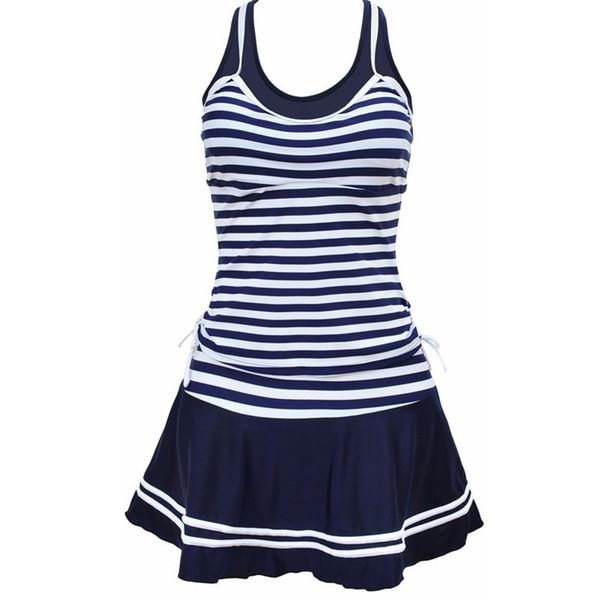 MUXILOVE Mulheres Escola Estilo Desportivo Swimwear Marinha listras Imprimir Tankinis Dois Peças Vestido Maiôs Plus Size M ~ 4XL