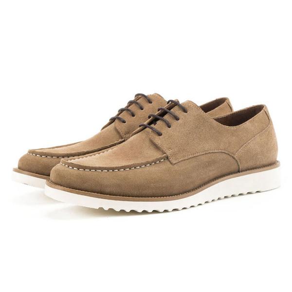 Vintage Designer Cow Suede Leather Men's Handmade Footwear Round Toe Lace up Man Flat Platform Comfortable Casual Shoes