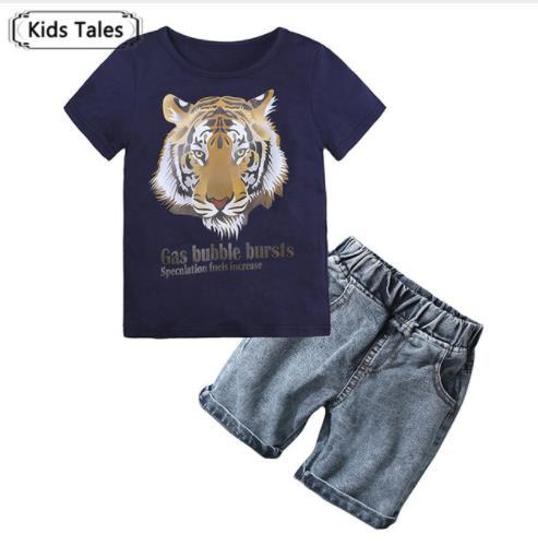 ST369 Baby Clothing Sets Kids Clothes Summer Boys Sets Children Short Sleeve T-shirt with Cartoon Print Suits+Jeans Boys Clothes