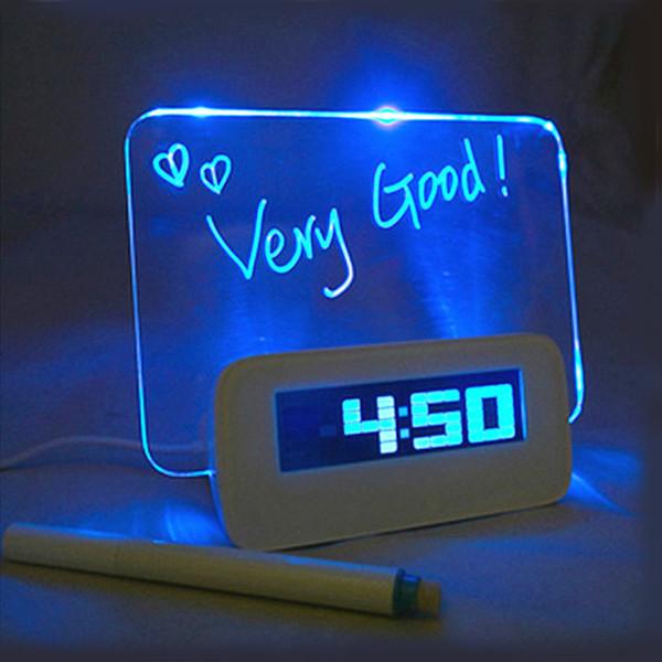 Blau Grün LED Fluoreszierend Digital Wecker mit Message Board USB 4 Port Hub