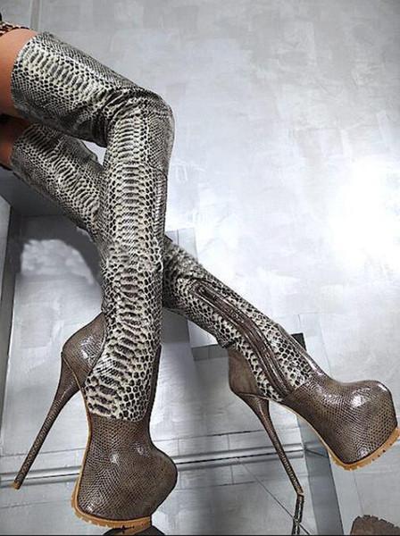 rote Leder Regen Botines Botas Feminina sexy Plattform Schuhe Oberschenkel hoch über dem Knie Stiefel Python Haut Gabelung extrem hohen Absatz