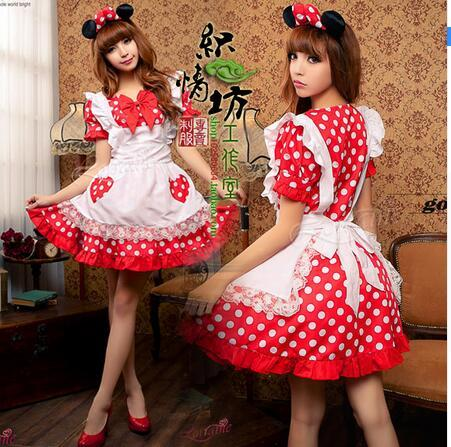 New Arrival Halloween Party Cosplay Costume Polka Dot Lolita Dress Maid Cosplay Costumes for women