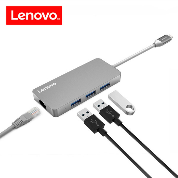 Lenovo Original 4 in 1 Type C Hub RJ45 Lan Network Ethernet USB C Hub Adapter USB 3.0 Port Data Transfer for Macbook Laptop etc.