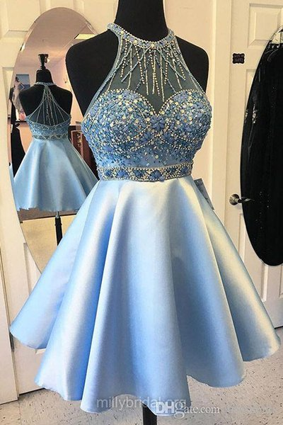 Jolies robes bleues de bal A-ligne encolure dégagée Robes de Soirée Robes de Soirée Satin Tulle Court Mini