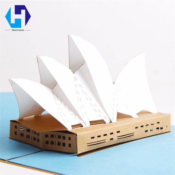 3d Sydney Opera House Dies Pop Up Greeting Card Laser Cutting Landmark Building Envelope Hollow Carved Handmade Kirigami Gift Free Online Greeting
