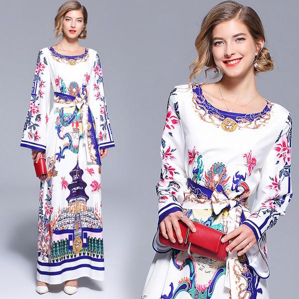 Mulheres vestidos de pista impressão panoply vestidos de baile de manga longa cintura alta letra impressa partido maxi vestidos