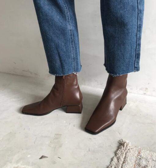 2018 Nouvelles femmes de mode chaussures de soirée en cuir marron carré orteil cheville bottes femme chunky talon bottes d'été bottes de gladiateur