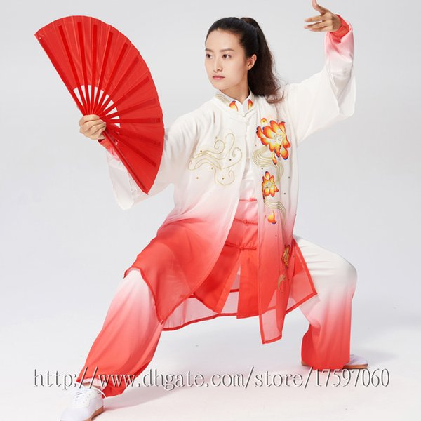 top popular Chinese Tai chi clothing taiji sword garment Kungfu outfit performance suit embroideried costume for women men children boy girl kids adults 2020
