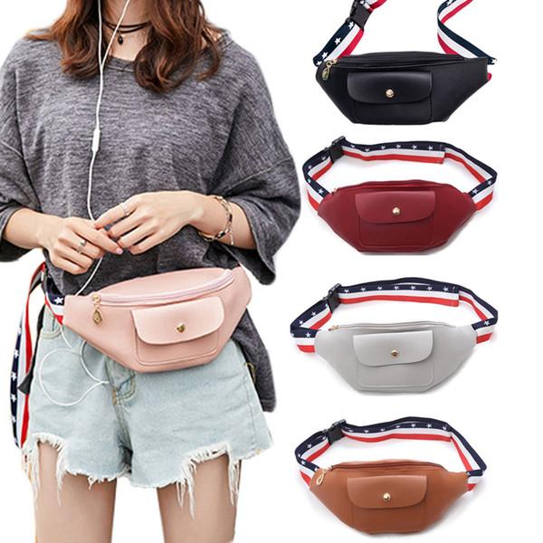 Fashion Marsupio Marsupio Borse da cintura per personalità Borsa per soldi Borsa in pelle PU con tracolla colorata
