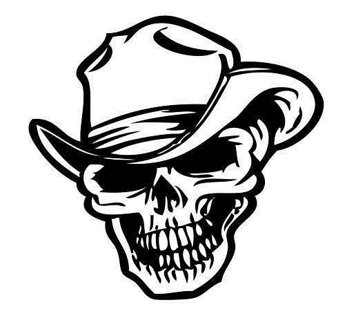 Car styling for Skull vinyl decal, cowboy skull sticker, western vinyl decals