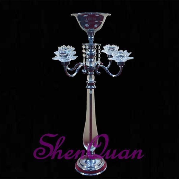 Titular da vela de metal e vidro por atacado para decoração de casamento topo de mesa, peça central do casamento castiçal vender online
