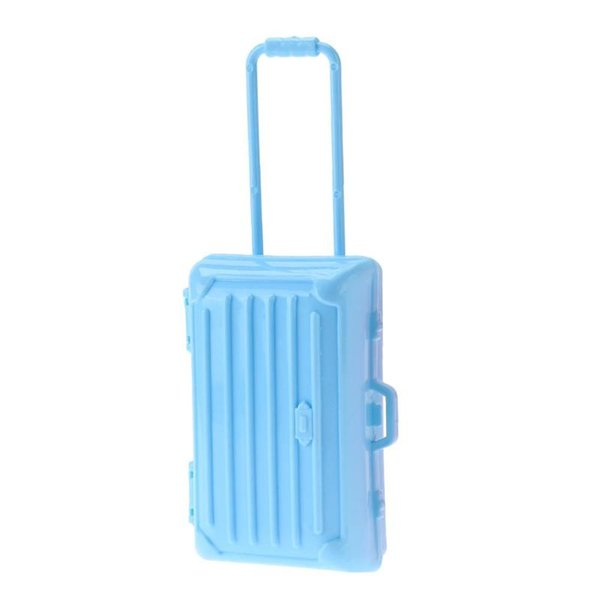 1pc Plastic Doll Playing House Toys Mini Air Hostess Suitcase Replica Rolling Suitcase Toy Doll Toy Accessory