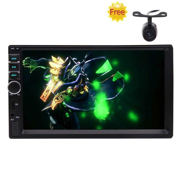 7'' Capacitive Touch Screen Universal Double Din HD Car Radio MP5 Player In-dash Entertainment Multimedia Player Receiver Multi Button Color