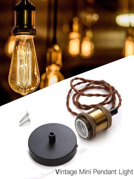 E26 E27 Base Holder Socket 1M Brown rope Pendant Ceiling Light Lamp Bulb Holder fitting Accessories Kit