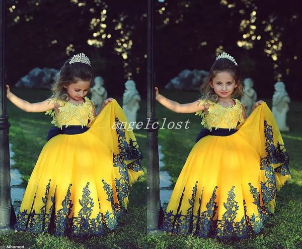 2018 Yellow Ball Gown Little Girls Pageant Dresses Jewel Appliques Sash Floor Length Child Birthday Party Gowns Halloween Wear Cosplay Dress