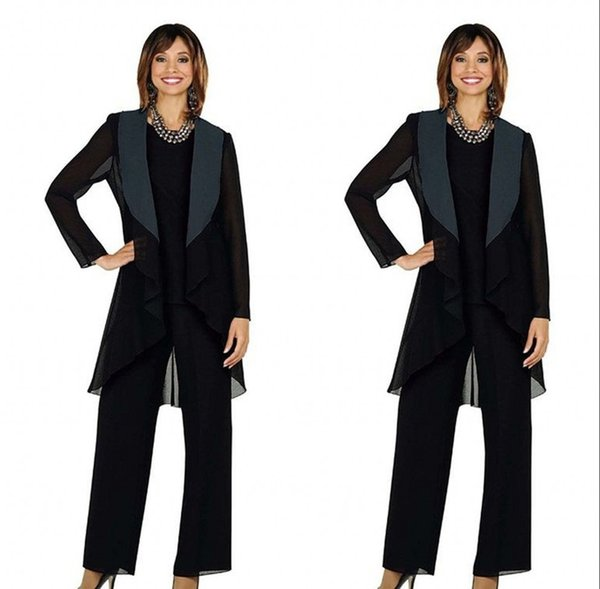 Black Chiffon Mother of the Bride Groom Suits Plus Size Three Pieces Wedding Guest for Wedding Pant Suit