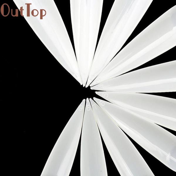 Autocollants OutTop pour les ongles 500 PCs Longs Sharp Sharp Faux Art Conseils Acrylique Salon - Blanc Clair Naturel Faux Autocollants A 17dec6