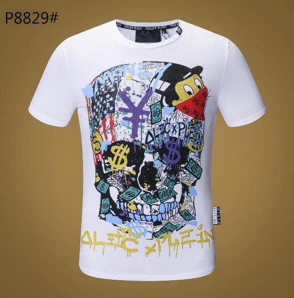 Yeni Erkekler T-shirt Kısa Kollu Pamuk Kafatasları Baskılar Tshirt Yuvarlak Boyun İnce Tee Adam Moda Kazak Kaykay Tops 100% pamuk G19199